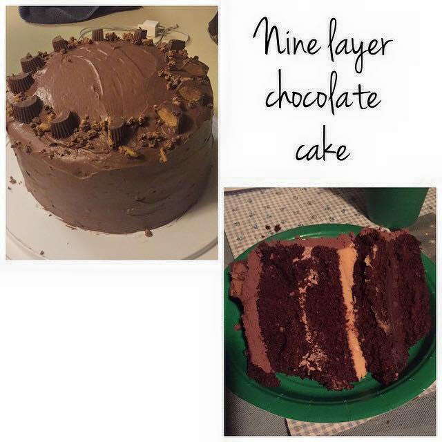 Cake, ganache, cake, chocolate mousse, cake, peanut butter filling, cake, icing, Reese's on top. 9 layers. Message me to...