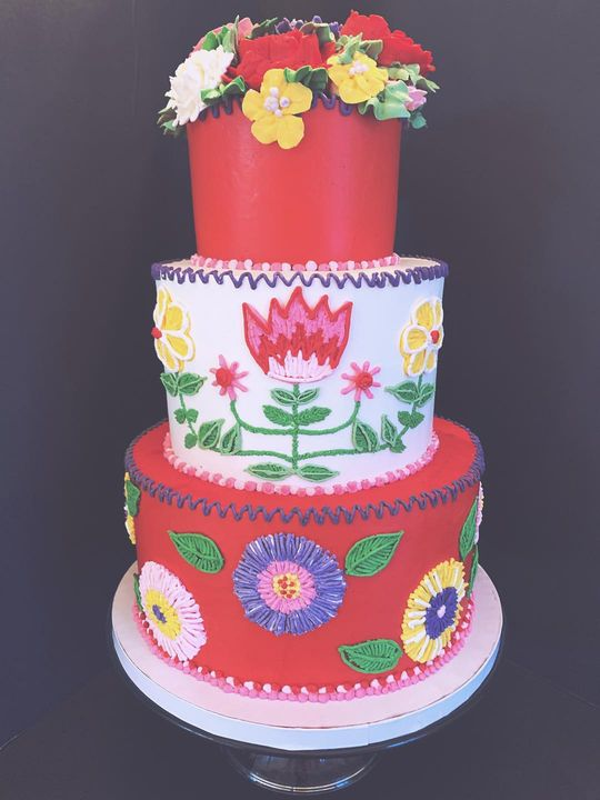 """An """"embroidered"""" cake for a special birthday! #allthecolor #allthepiping #cantfeelmyhands"""