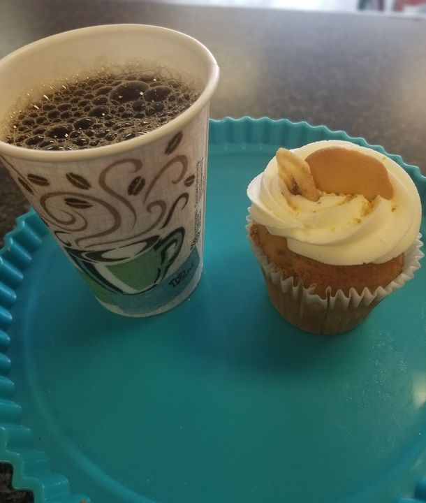 Come on by the shop and warm up with a locally brewed,  steaming hot cup of coffee and a cupcake for only $5!! ☕️🧁